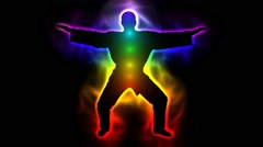 Master with aura and chakras - taichi, kungfu, judo, karate, taekwondo - stock footage