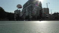 Inner city basketball free throws outdoor Stock Footage