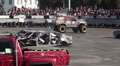 Bigfoot truck entertaining viewers at show, fun, extreme sports HD Footage