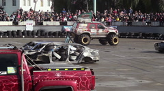 Bigfoot truck entertaining viewers at show, fun, extreme sports Stock Footage