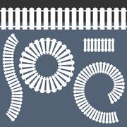 White Picket Fence Icon Set - stock illustration