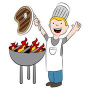 Stock Illustration of Chef Grilling Steak