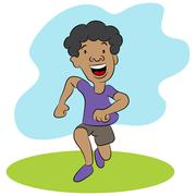 Kid Running Cartoon Character Stock Illustration