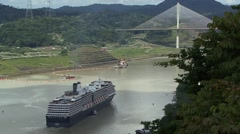 Ship sailing to Panama's Centennial Bridge - stock footage