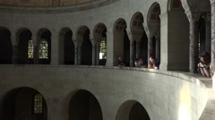 4k Visitors at Mausoleum indoor circuit with arches architecture Stock Footage