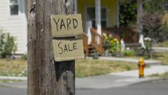 Yard sale sign, A cardboard sign for a yard sale. Stock Footage