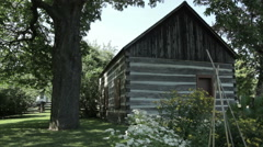 Historic log cabin background Stock Footage