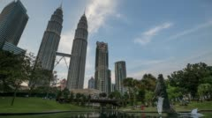 Day to night HD footage of Water Fountain at Suria KLCC with Petronas Towers Stock Footage