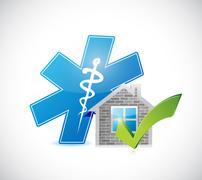 Real estate home approve medical symbol Stock Illustration