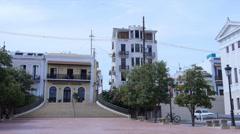 PASSIVE RECREATIONAL TOWN PLAZA La Barandilla Plaza in Old San Juan 2 of 2 Stock Footage