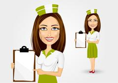 beautiful waitress pointing to menu - stock illustration