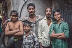 Boys from slum - stock photo
