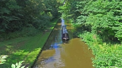 Narrow Boat on Canal 5 Stock Footage