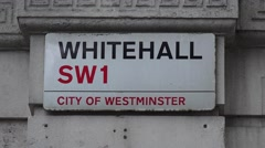 """A typical London street sign (in 4K) for """"Whitehall"""", SW1, London, UK. Stock Footage"""