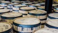 Tops of Bourbon Barrels - stock photo
