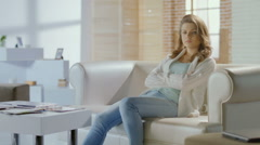 Sad woman thinking about problems, divorce, looking exhausted Stock Footage
