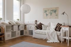 White modern sitting room - stock photo