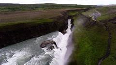 Aerial view of Gullfoss Waterfall  going backwards Stock Footage