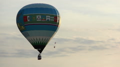 Hot air balloon flies high in the sky, Evening, included fire Stock Footage