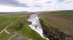 Stock Video Footage of Gullfoss Waterfall aerial view going forward