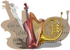 Instruments of orchestra Stock Illustration