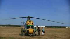 Helicopter flights in the open air in peacetime. Stock Footage