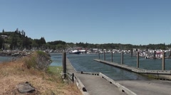 Pan L to R Ilwaco Boat Launch Ramp Stock Footage