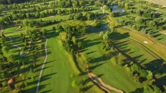 Evening Scenic Aerial View of Golf Course Stock Footage