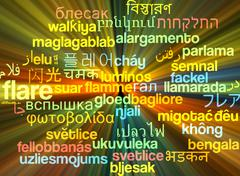 Flare multilanguage wordcloud background concept glowing - stock illustration