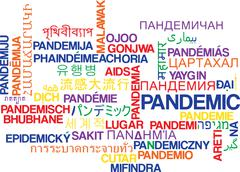 Pandemic multilanguage wordcloud background concept Stock Illustration