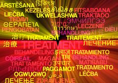Treatment multilanguage wordcloud background concept glowing Stock Illustration