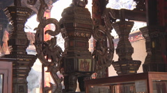 Chinese gods altar at the Thien Hau Temple in Ho Chi Minh City, Vietnam Stock Footage