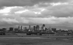 Stormy Black and White Horizontal Composition Kansas City Downtown Slyline Stock Photos