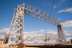 Aerial Lift Bridge Duluth Harbor Lake Superior Minnesota Wisconsin Stock Photos