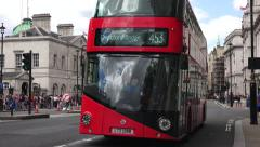 A New Routemaster bus (in 4K) on Whitehall, London, UK. Stock Footage