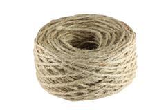 twine hemp rope isolated on white. - stock photo