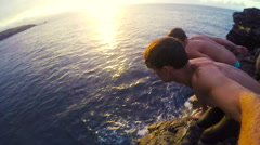 POV Cliff Jumping Stock Footage