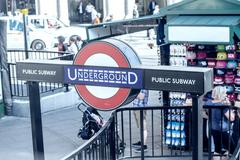 LONDON - JUN 13: London Underground station entrance on June 13, 2015 in Lond Stock Photos