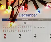 Christmas lights and December calendar Kuvituskuvat