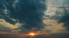 Picturesque sunset (sunrise) with clouds, wide angle view. Shot with Red Cinema - stock footage