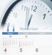 Clock face and calendar composite Stock Photos