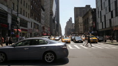 Cars and taxi lined up on crosswalk at 44th street and 8th ave intersection NYC Stock Footage
