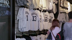 Yankee jerseys in store in Times Square in NYC Stock Footage