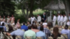 Bride and groom leaving a wedding ceremony Stock Footage