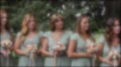 Bridesmaids during a wedding ceremony Stock Footage