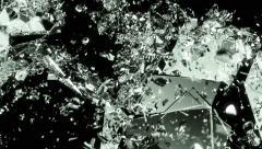 4K Glass shattered and broken slow motion . Alpha matte Stock Footage