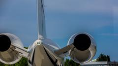 Airplane at terminal gate preparing the takeoff. - stock photo