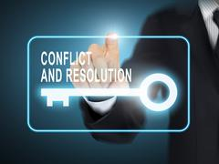 Male hand pressing conflict and resolution key button Stock Illustration