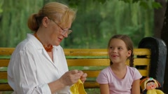 Hand Crafting In A Park Stock Footage