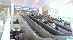 Time lapse of People hurrying in the  railway station in fast motion Stock Footage